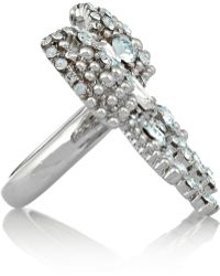 Miu Miu Silverplated Swarovski Crystal Bow Ring - Lyst