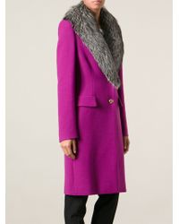 Emilio Pucci Fox Fur Collar Coat - Lyst