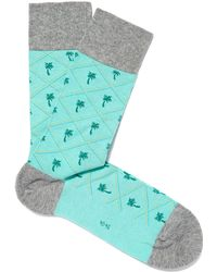 Smythson - Turquoise Palm Tree Socks - Lyst