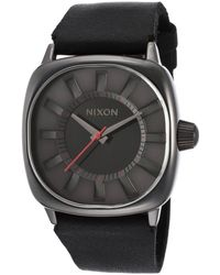 Nixon Mens Revolver Black Genuine Leather Strap and Dial - Lyst