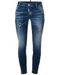 DSquared2 Super-Skinny Mid-Rise Stretch-Denim Jeans - Lyst