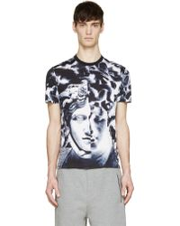 Versace Blue Medusa And Marble Print T_Shirt - Lyst