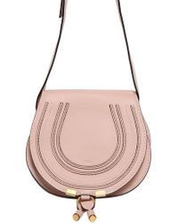 Chloé Small Marcie Leather Crossbody Bag pink - Lyst