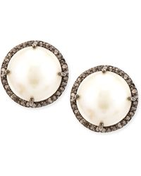 Siena Jewelry | Pearl And Diamond Bezel Stud Earrings | Lyst