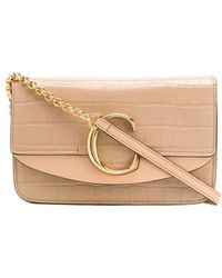"""Chloé - """"c"""" Clutch With Chain In Stamped Croc - Lyst"""