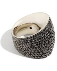 Vhernier - Editorialist Exclusive: Tonneau Ring In White Gold And Black Diamonds - Lyst