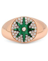 Colette - Signet Star Ring In Emerald - Lyst