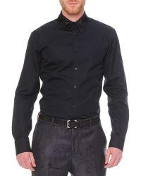 Alexander McQueen Poplin Shirt With Pieced Collar black - Lyst