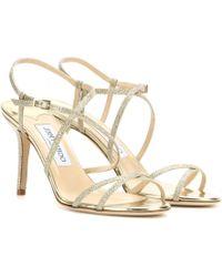 Jimmy Choo Elaine Glitter Sandals - Lyst
