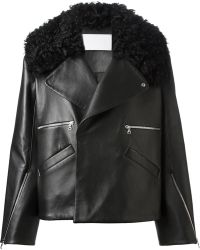 Jamie Wei Huang Shearling Collar Biker Jacket - Lyst