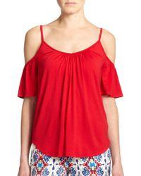 Ella Moss Bella Cold-Shoulder Blouse red - Lyst