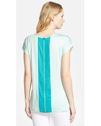 Pleione Zip Back Tee With Woven Contrast green - Lyst
