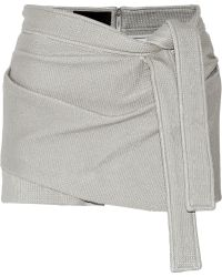 Jay Ahr Wrap-Effect Coated Stretch-Knit Shorts - Lyst