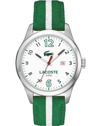 Lacoste Mens Auckland Green and White Nylon Strap Watch 44mm - Lyst