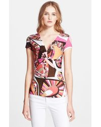 Emilio Pucci Twist Front Flower Power Print Top - Lyst