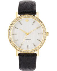 Kate Spade Ladies Metro Pave Black Saffiano Leather Watch - Lyst
