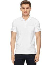 Calvin Klein Slim Fit Polo white - Lyst