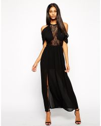 Tfnc Maxi Dress with Lace Insert and Shoulder Details - Lyst