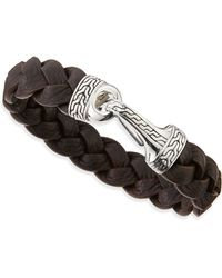John Hardy Classic Chain Leather Hook Bracelet Brown - Lyst