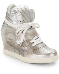 Ash Cool Perforated Metallic Leather Wedge Sneakers - Lyst