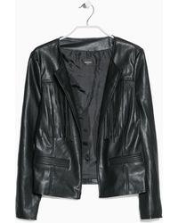 Mango Black Fringed Jacket - Lyst
