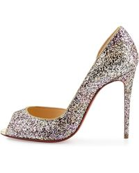 louboutin shoes replica - Christian louboutin Demi You Half D'Orsay Peep-Toe Red Sole Pump ...