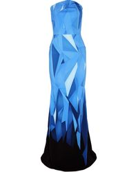 Roland Mouret Strapless Printed Cotton-Blend Gown - Lyst