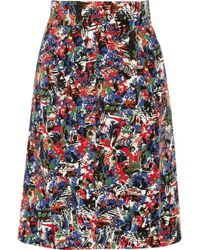 M Missoni Pleated Printedcotton Skirt - Lyst