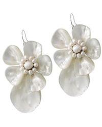Aeravida - Unique White Shell&pearl Flower .925 Silver Earrings - Lyst