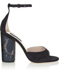 Marc Jacobs Sequinembellished Suede Sandals - Lyst