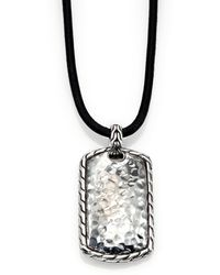 John Hardy Hammered Dogtag Necklace - Lyst