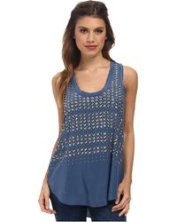 Rebecca Taylor Sleeveless Studded Tank Top - Lyst