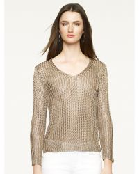 Ralph Lauren Metallic V-Neck Sweater - Lyst