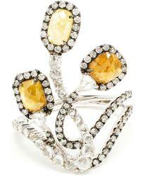 Saqqara - 18k White Gold Diamond Three Graces Ring - Lyst