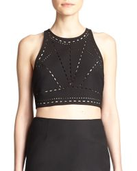 Elizabeth And James New Upton Laser-Cut Cropped Top - Lyst