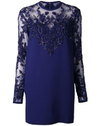 Elie Saab Blue Beaded Dress - Lyst
