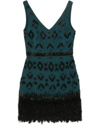 Nicole Miller Feathered Ikat Dress - Lyst
