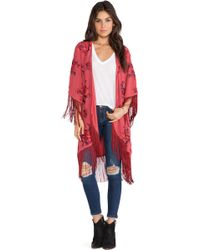 Free People Floral Embroidered Kimono - Lyst
