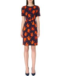 Paul Smith Black Label Iris-print Stretch-crepe Dress - Lyst