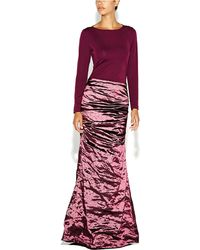 Nicole Miller Ivy Metallic And Jersey Ruched Gown - Lyst