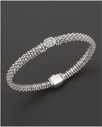 Lagos - Sterling Silver Square Diamond Bracelet - Lyst