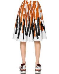 Marni Printed Cotton & Linen Drill Skirt - Lyst