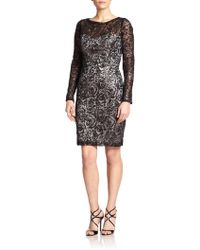 Sue Wong 3/4-Sleeve Beaded Lace Cocktail Dress black - Lyst