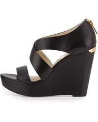 MICHAEL Michael Kors Elena Leather Wedge Sandal - Lyst