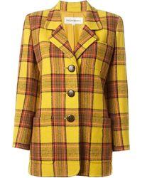 Yves Saint Laurent Vintage Fitted Tartan Jacket - Lyst
