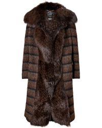 Ferragamo Wool-Mohair-Alpaca Coat With Fox Fur Front - Lyst