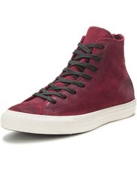 Converse Burnished Suede Plimsolls Burgandy Black White - Lyst