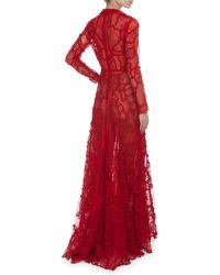 Valentino Long-Sleeve Deep-V Lace Patchwork Gown - Lyst