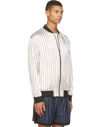 3.1 Phillip Lim Midnight Blue And White Striped Reversible Bomber Jacket - Lyst