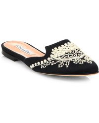 Oscar de la Renta Spanish Embroidered Mules - Lyst